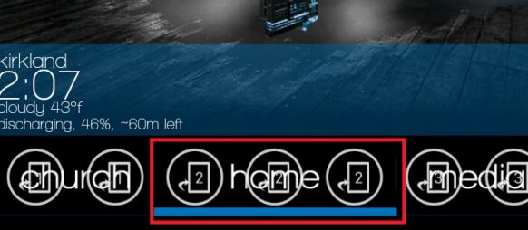 Homeと書かれた部分にDesktop Visualizerで1*1のウィジェットを置く。